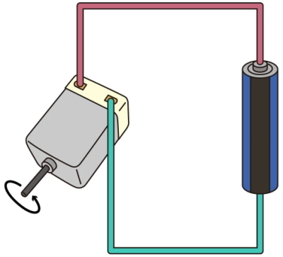 the motor connect to battery