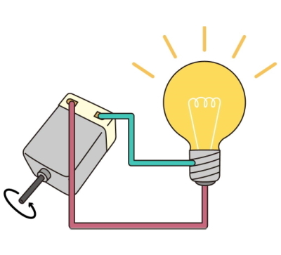 the motor connect to light bulb