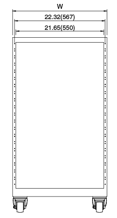 Width and Height of 23-inch type RAC