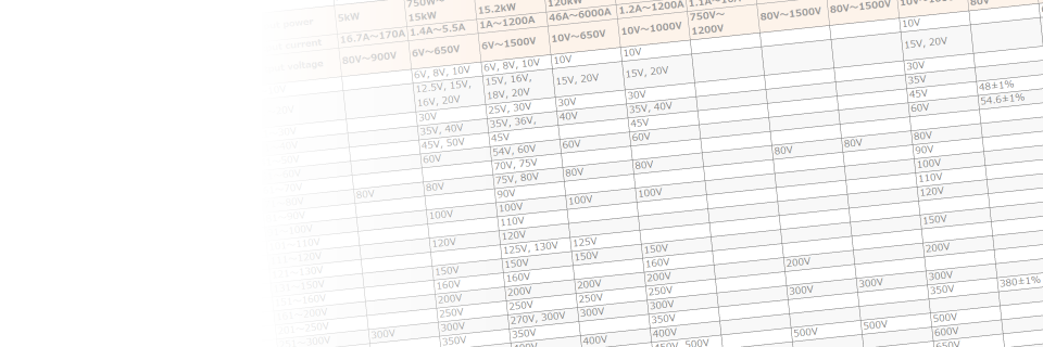 Selection Chart of High Voltage Power Supplies, Rack Mount and Benchtop